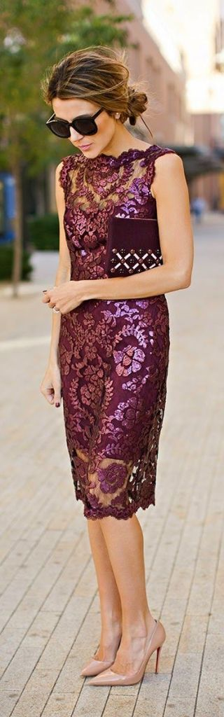 Wine color, lace dress, cheongsam, maroon